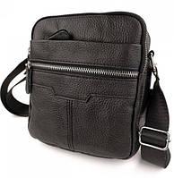 Чоловіча сумка месенджер шкіряна через плече Tiding Bag чорна з натуральної шкіри, фото 1
