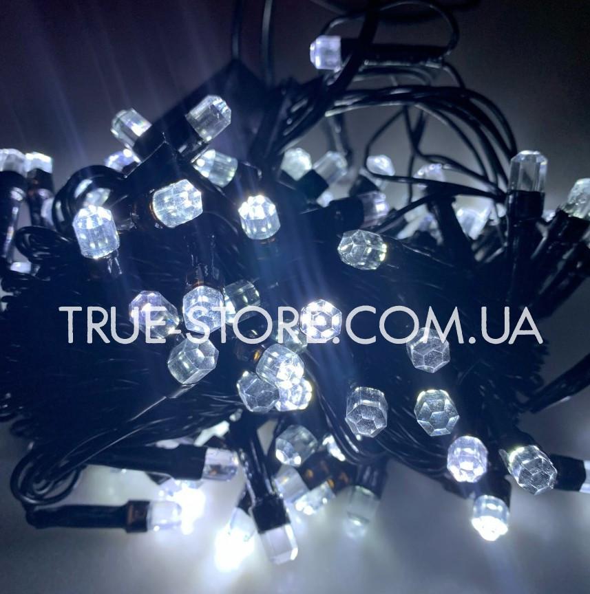 Гирлянда рубин 100 LED, Белый цвет, черный провод, 6метров