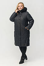 """Зимове жіноче стеганное пальто з хутром Арді """"Листок"""", чорне"""