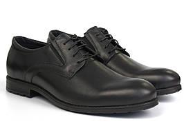 Дерби кожаные туфли черные с резинками на полную стопу обувь Rosso Avangard Derby RezBlack