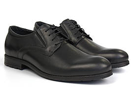 Дербі шкіряні туфлі чорні з гумками на повну стопу взуття Rosso Avangard Derby RezBlack