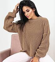 Свитер женский, кофта вязаная oversize, свитер женский однотонный свободного кроя, фото 1
