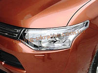 Хром передних фар Mitsubishi Outlander 2014+