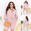 Жіночий зручний костюм: сорочка і шорти з легкої жатої тканини, батал великі розміри, фото 5