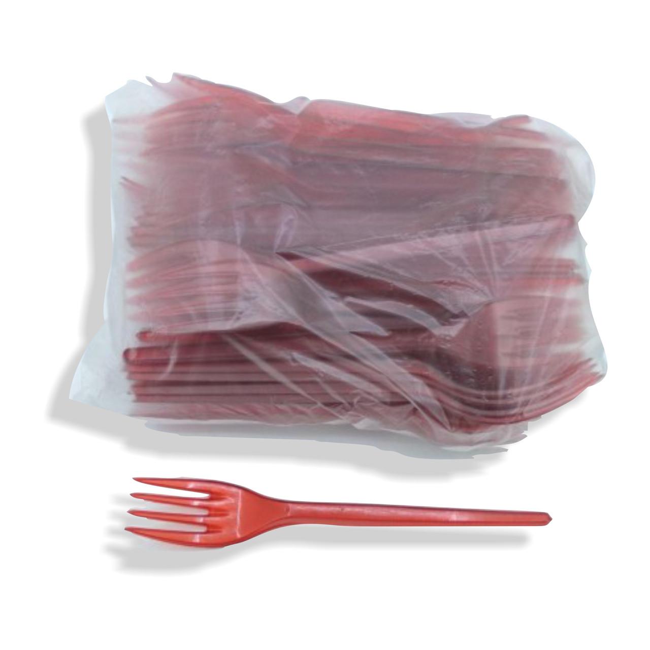Вилки пластиковые 100 шт Красные Юнита
