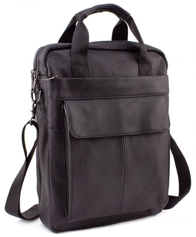 Чоловіча сумка з натуральної шкіри чорного кольору на два відділення під А4 Tiding Bag Чорна