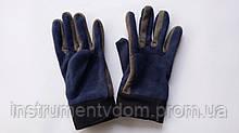 Перчатки женские флисовые синие с серыми вставками и черной манжетой (упаковка 12 пар)