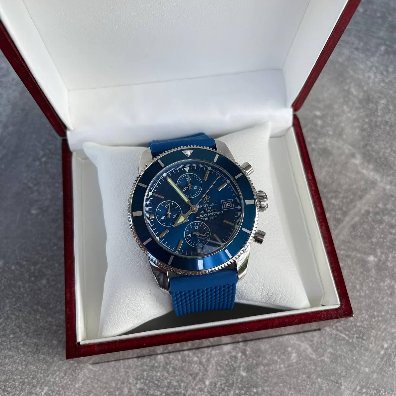 Годинник наручний Годинник Blue-Silver преміального класу ААА