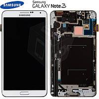 Дисплейный модуль для Samsung Galaxy Note 3 N9005 / N9006, c средней частью, белый, оригинал