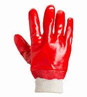 Перчатки маслобензостойкие с ПВХ покрытием Doloni D-Resist красные 4518