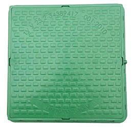 """Люк каналізаційний """"Садовий"""" квадратний полімерний 580/690 зелений (1т)"""