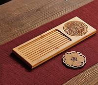 Чабань чайная доска бамбуковая с двумя подставками, фото 2
