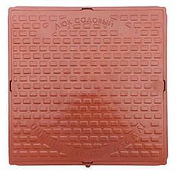 """Люк каналізаційний """"Садовий"""" квадратний полімерний 580/690 коричневий (1т)"""