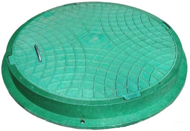 Канализационный люк Акведук с замком полимерный (зелёный) 6т 600/750