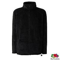 Флисовая куртка-толстовка чёрная на молнии Fruit of the Loom, под нанесение логотипа