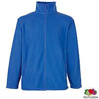 Толстовка-худи мужская флисовая, кофта голубая на молнии с карманами от Fruit of the Loom, под нанесение