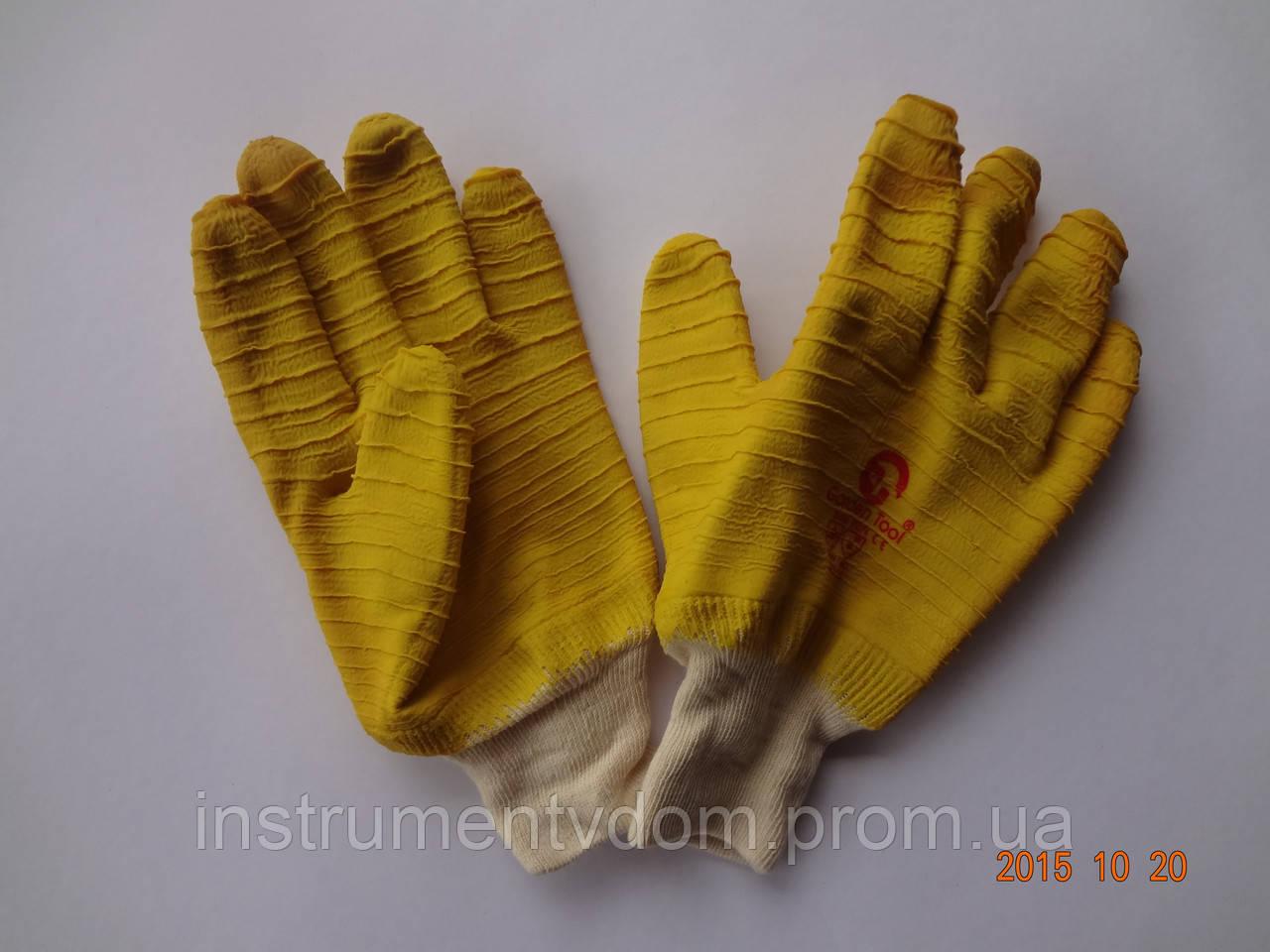 Перчатки х/б с желтым латексным покрытием (упаковка 12 пар)