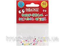 Подвижные глазки для декорирования на клейкой основе цветные, диаметр 5 мм, 40 шт.
