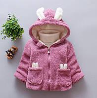 Пальто для девочек весна-осень с ушками фиолетовое