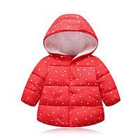 Куртка деми для девочек со звездочками красная