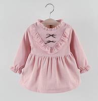 Платье для девочки розовое утепленное 3710