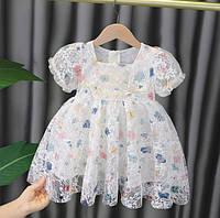 Нарядное платье Бабочки белая 1327
