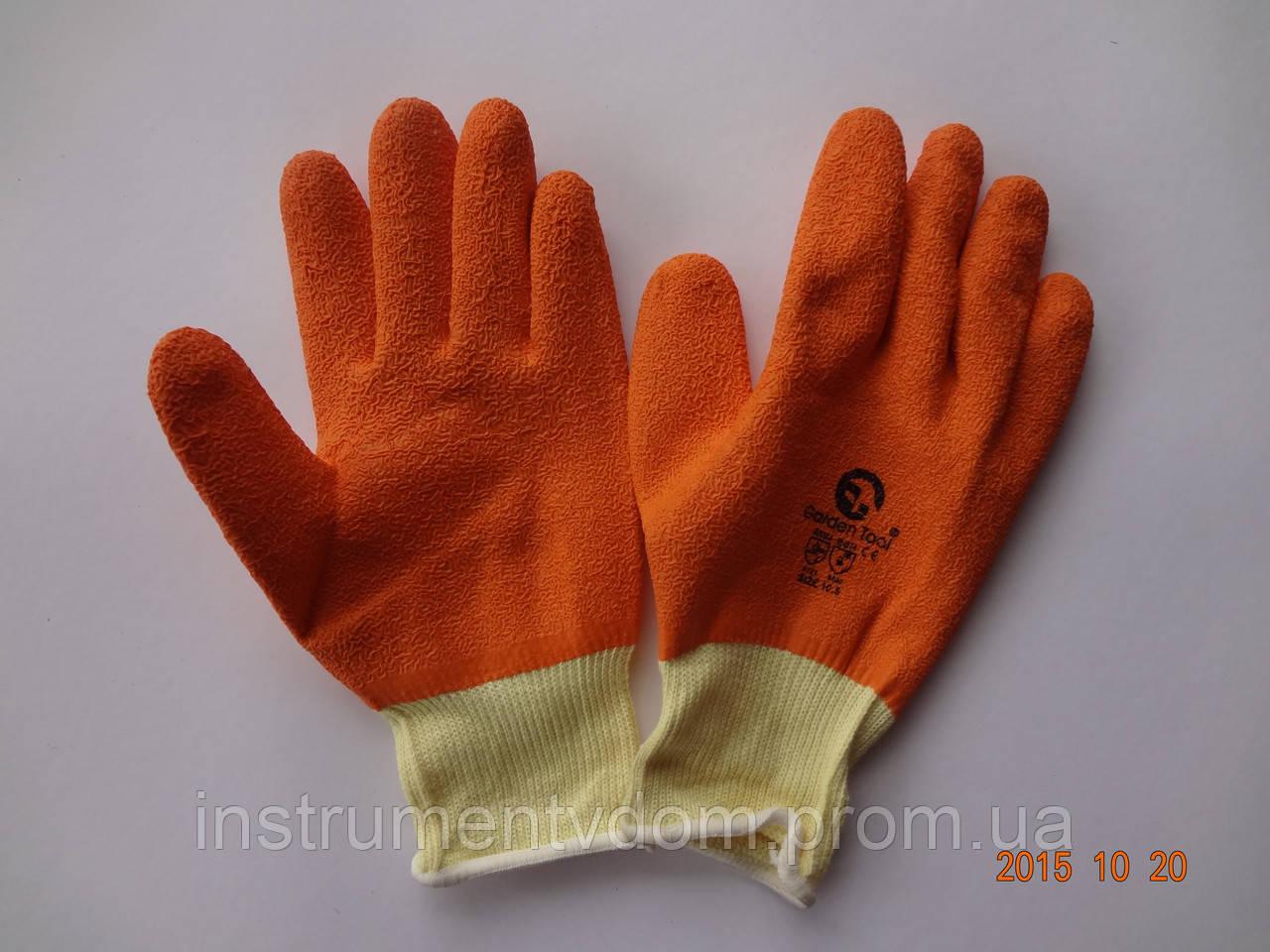 Перчатки х/б с оранжевым латексным покрытием Garden Tool (упаковка 12 пар)