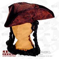 """Пиратская треуголка """"Джек Воробей"""" с косами"""