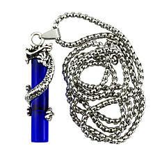 Кулон Win Дракон з кристалом 5,1х1,4 Сталевий + Синій (26126)