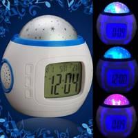 Музыкальные часы с будильником - проектор Звездное небо