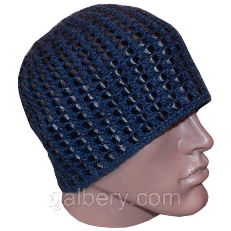 Мужская вязаная зимняя шапка c элементами кожи джинсового цвета