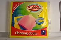 Губка-салфетка  для мытья посуды и уборки Sandom 5шт.уп,  желтая