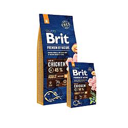 Корм Brit Premium Adult M Бріт Преміум Едалт М для собак 15 кг та 3 кг у подарунок