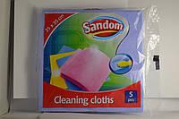Губка-салфетка  для мытья посуды и уборки Sandom 5шт.уп, розовая