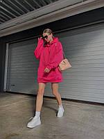 Женский однотонный теплый худи-оверсайз трехнить на флисе розовый