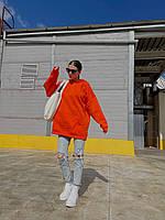Женский однотонный теплый худи-оверсайз трехнить на флисе оранжевый