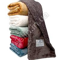 Теплый детский плед покрывало велюр, теплое зимнее одеяло с эко мехом внутри для малыша 140см для кроватки