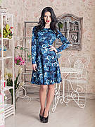 Нарядное синее платье с цветами