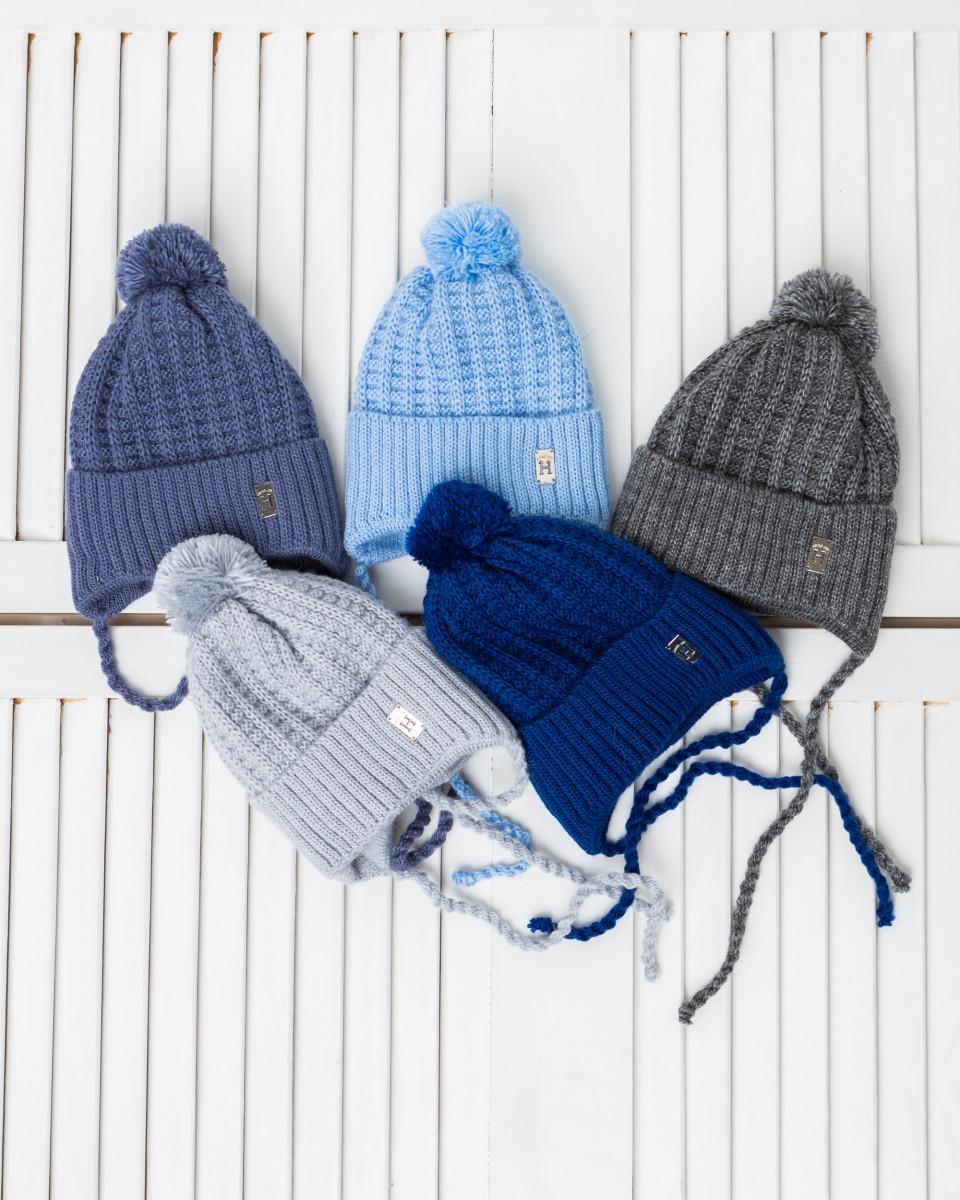 Зимова вязана шапка з помпоном для хлопчика оптом - Артикул 2716