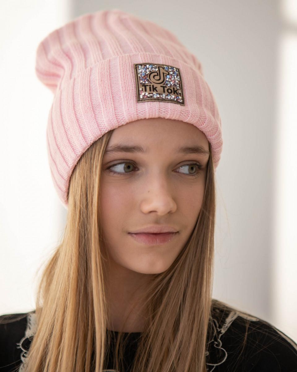 Стильна зимова шапка з відворотом для дівчинки - Артикул 2780