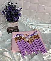 Великий набір кистей Zoeva для макіяжу в косметичці 15 шт Рожевий