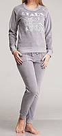 Женский комплект регланом велюровый серый
