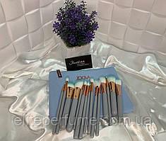 Великий набір кистей Zoeva для макіяжу в косметичці 15 шт