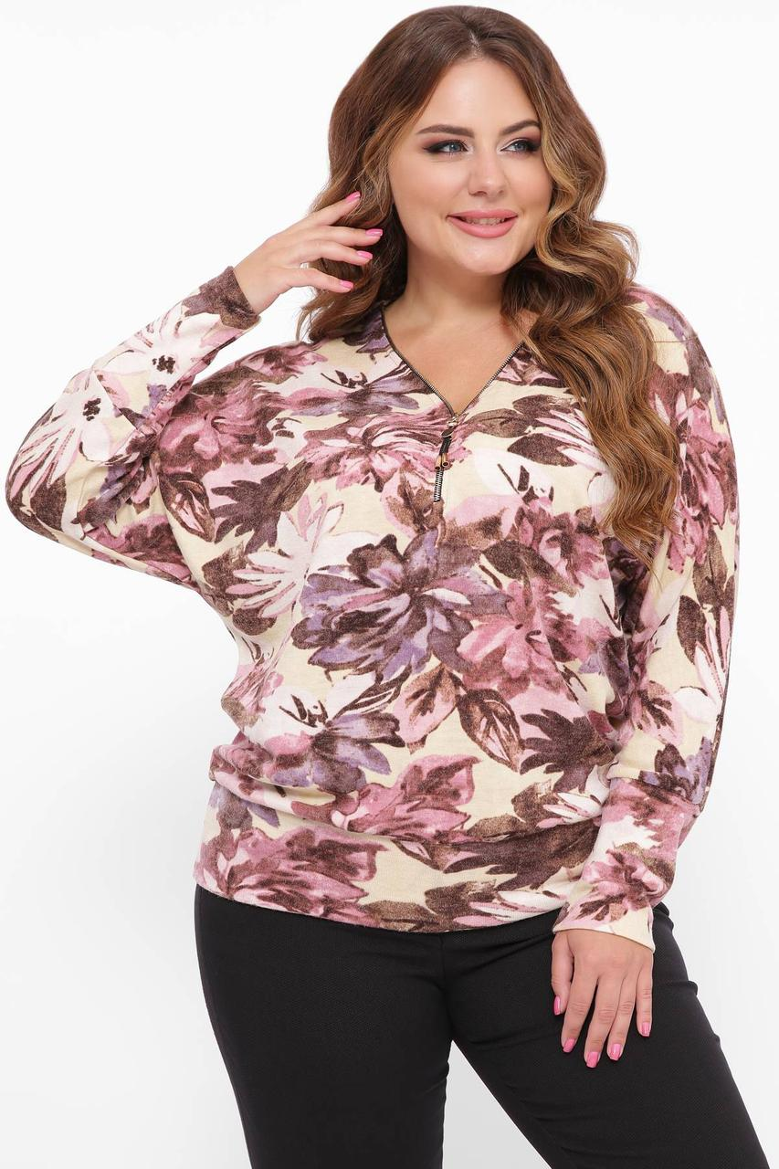 Супер теплий светр з трикотажу на хутрі розмір 48-52