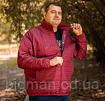 Чоловіча бордова демісезонна куртка Borcan Club батал Туреччина великі розміри