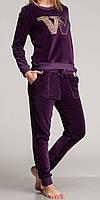 Женский комплект с карманами велюровый фиолетовый