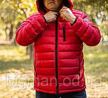 Чоловіча червона демісезонна куртка з капюшоном Grand Chief батал Туреччина великі розміри