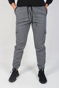 Тёплые женские джоггеры стейчевая шерсть с накладными карманами №193 чёрно-белые