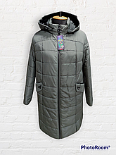 Жіноча зимова довга куртка супербатал Бт-3, сіра