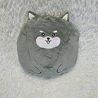 Плюшева іграшка-подушка хаскі круглий з пледом всередині 3 в 1 сірий krd0189